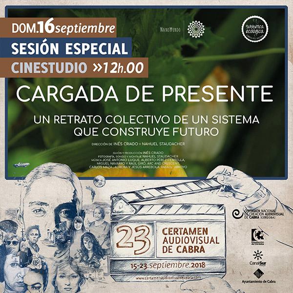 Cartel anunciador de la proyección de Cargada de Presente en el Certamen de Cortos de Cabra